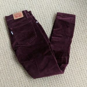 Levi's Burgundy Red Cordoroy Skinny Ankle Pants